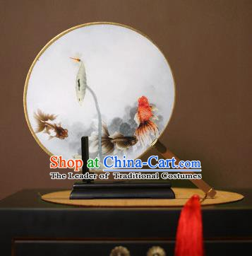 Chinese Traditional Circular Fans Handmade Printing Goldfish Round Fan China Ancient Palace Dance Fans