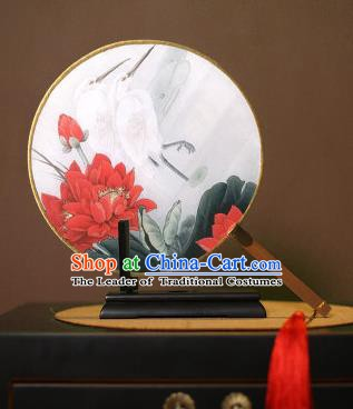 Chinese Traditional Circular Fans Handmade Printing Lotus Egret Round Fan China Ancient Palace Dance Fans