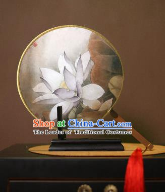 Chinese Traditional Circular Fans Handmade Printing White Lotus Round Fan China Ancient Palace Dance Fans