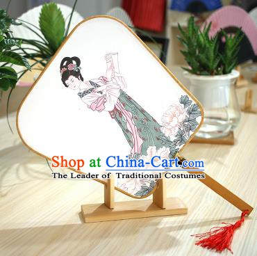 Chinese Traditional Printing Hanfu Fans Handmade Square Fan China Ancient Palace Dance Fans