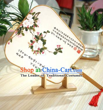 Chinese Traditional Printing Peach Blossom Fans Handmade Square Fan China Ancient Palace Dance Fans