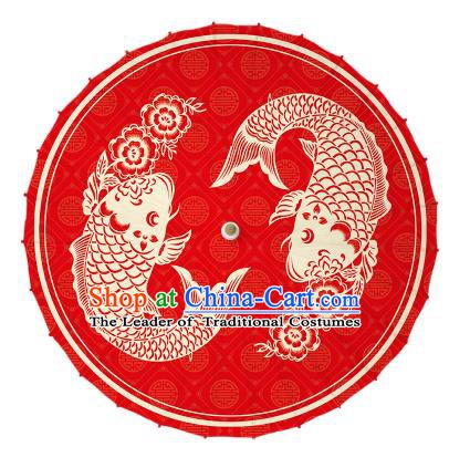 Chinese Traditional Artware Printing Carps Umbrella Classical Dance Red Oil-paper Umbrella Handmade Umbrella
