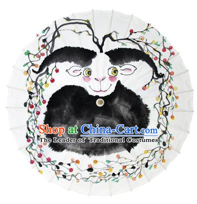 Chinese Traditional Artware Dance Umbrella Ink Painting Sheep Paper Umbrellas Oil-paper Umbrella Handmade Umbrella