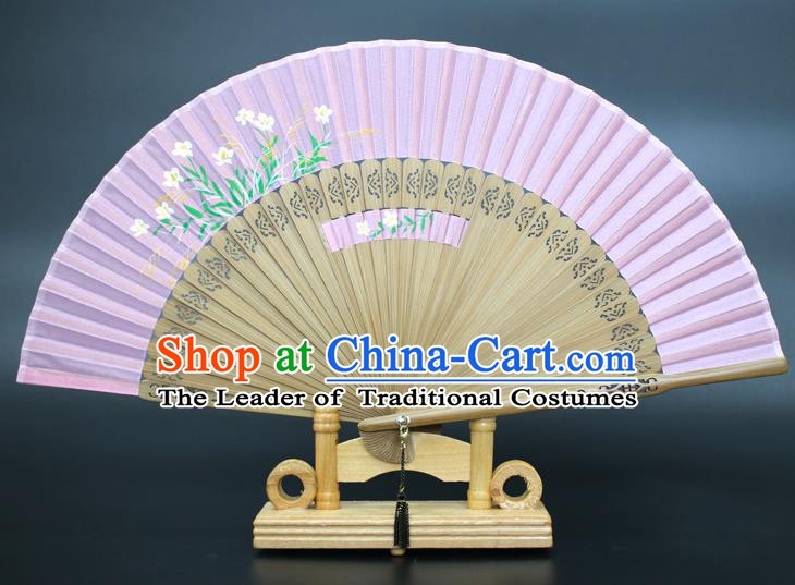Chinese Traditional Artware Handmade Folding Fans Printing Plum Blossom Lilac Silk Fans Accordion
