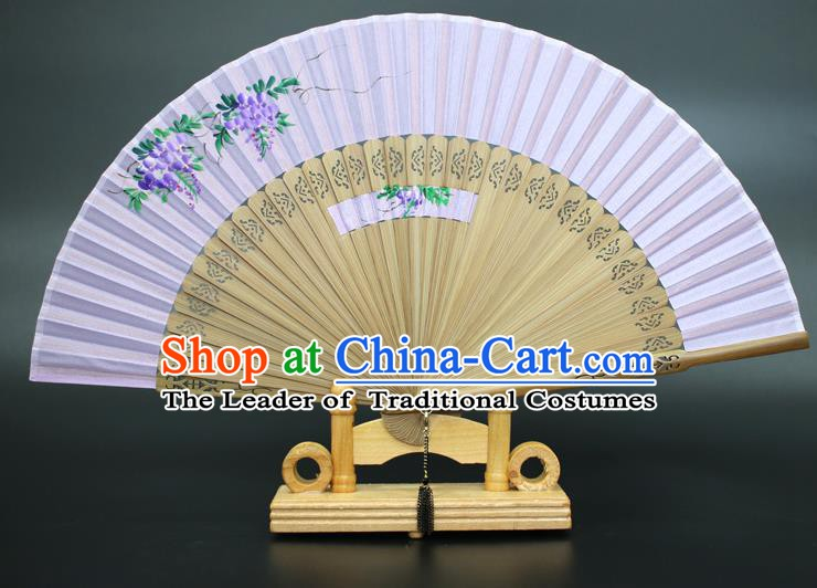 Chinese Traditional Artware Handmade Folding Fans Printing Wisteria Purple Silk Fans Accordion