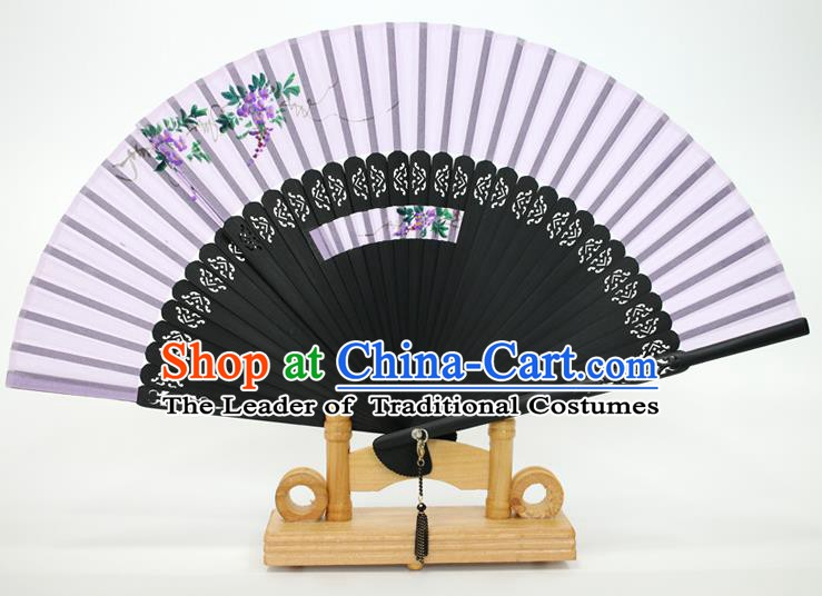 Chinese Traditional Artware Handmade Folding Fans Printing Wisteria Lilac Silk Fans Accordion