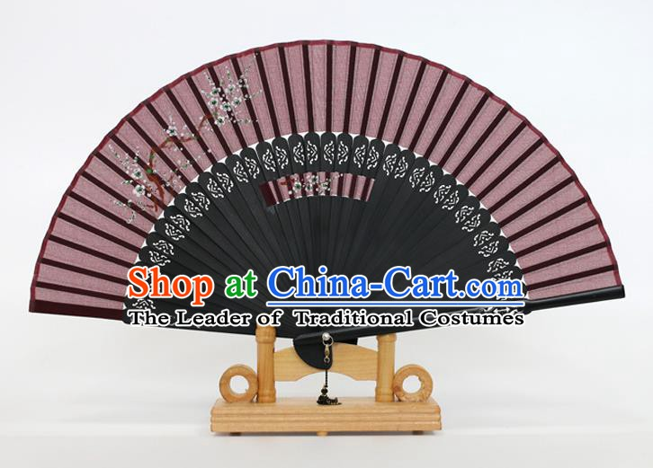 Chinese Traditional Artware Handmade Folding Fans Printing Flowers Amaranth Silk Fans Accordion