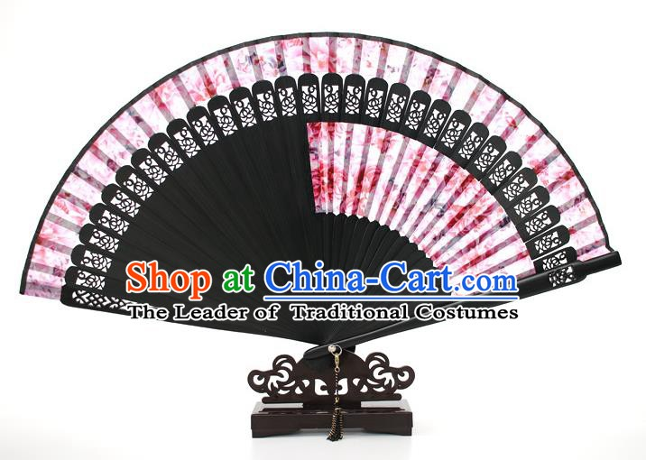 Chinese Traditional Artware Handmade Folding Fans Pink Silk Fans Accordion