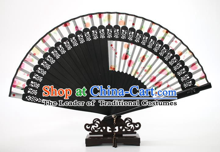 Chinese Traditional Artware Handmade Printing Folding Fans White Silk Fans Accordion
