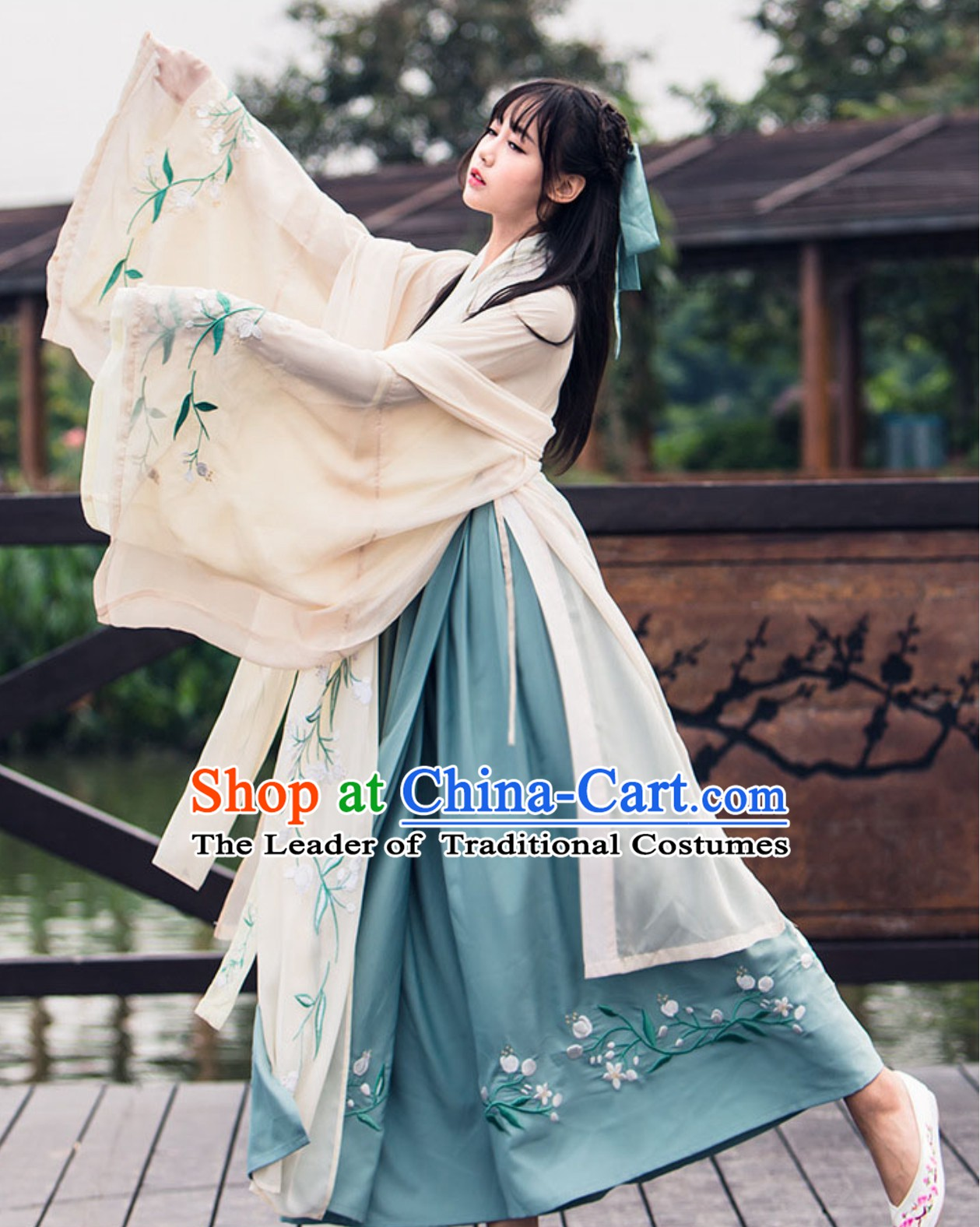 Chinese Classical Dance Water Sleeve Wide Sleeve Hanfu Dress Clothing Complete Set for Women