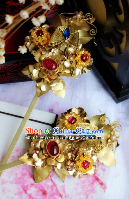 Chinese Handmade Classical Hair Accessories Wedding Hairpins Hanfu Golden Butterfly Hair Coronet for Women