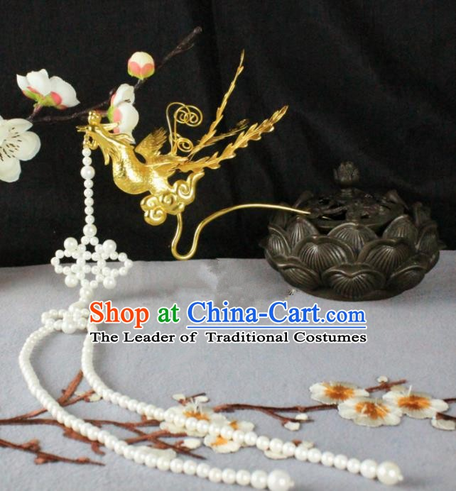Chinese Handmade Classical Hair Accessories Wedding Hairpins Hanfu Hair Clip Beads Tassel Step Shake for Women