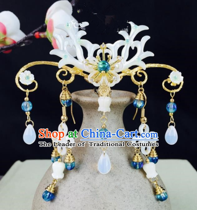 Chinese Handmade Classical Hair Accessories Wedding Shell Phoenix Coronet Hairpins for Women