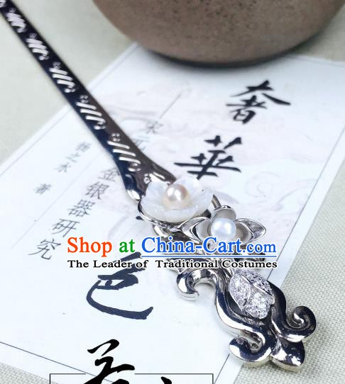 Chinese Handmade Classical Hair Accessories Pearl Lotus Hairpins Hair Stick for Women