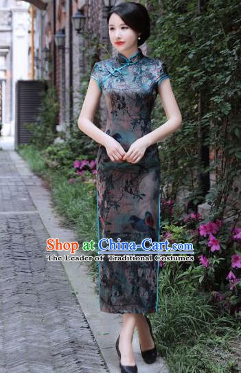 Chinese Traditional Mandarin Silk Qipao Dress National Costume Printing Long Cheongsam for Women