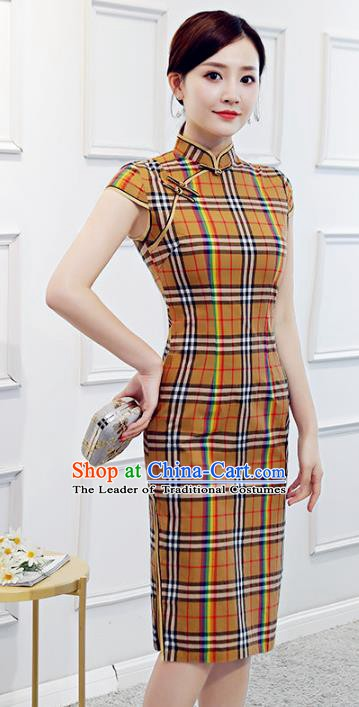 Chinese Traditional Mandarin Yellow Qipao Dress National Costume Retro Cheongsam for Women