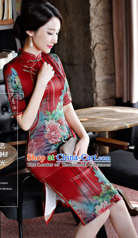Chinese Traditional Silk Mandarin Qipao Dress National Costume Printing Peony Red Short Cheongsam for Women