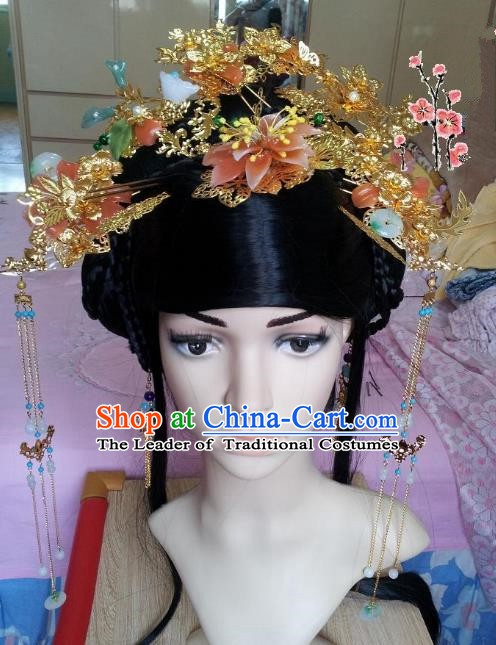 Traditional Chinese Ancient Hair Accessories Golden Phoenix Coronet Hairpins Complete Set for Women