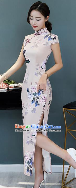 Chinese Traditional Printing Peony Pink Mandarin Qipao Dress National Costume Tang Suit Cheongsam for Women