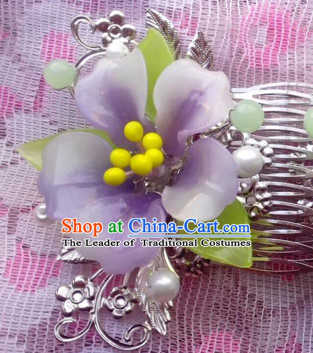 Traditional Chinese Ancient Hair Accessories Purple Flower Hair Comb Hairpins for Women