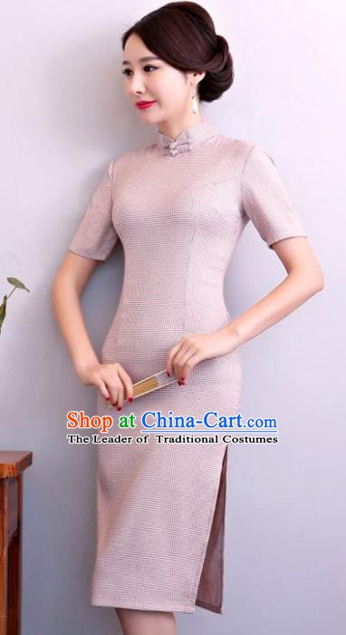 Chinese Traditional Tang Suit Pink Linen Qipao Dress National Costume Mandarin Cheongsam for Women