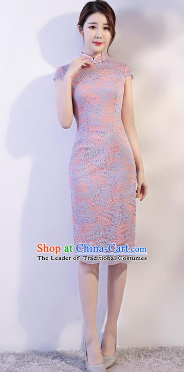 Chinese Traditional Tang Suit Lilac Embroidered Lace Qipao Dress National Costume Mandarin Cheongsam for Women