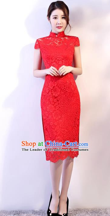 Chinese Traditional Tang Suit Red Embroidered Lace Qipao Dress National Costume Mandarin Cheongsam for Women
