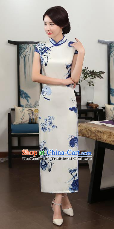 Chinese Traditional Tang Suit Printing Qipao Dress National Costume White Silk Mandarin Cheongsam for Women
