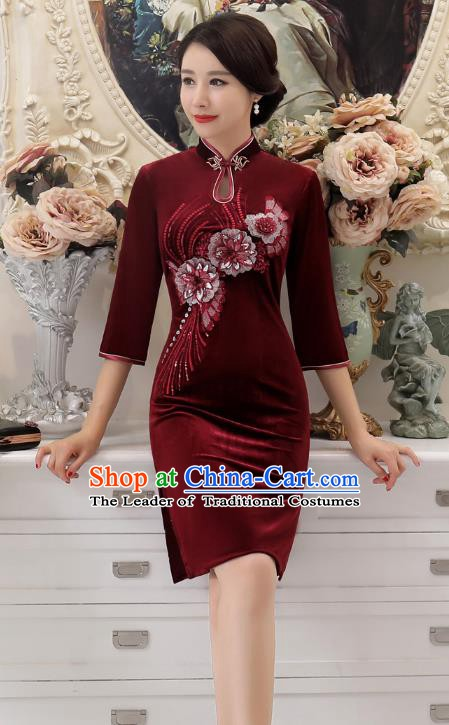 Chinese Traditional Tang Suit Wine Red Velvet Qipao Dress National Costume Retro Mandarin Cheongsam for Women