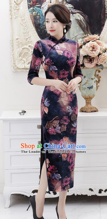 Chinese Traditional Tang Suit Purple Qipao Dress National Costume Retro Printing Mandarin Cheongsam for Women