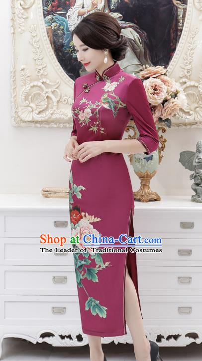 Chinese Traditional Tang Suit Purple Silk Qipao Dress National Costume Retro Printing Mandarin Cheongsam for Women