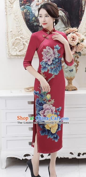 Chinese Traditional Tang Suit Qipao Dress National Costume Retro Printing Peony Mandarin Cheongsam for Women