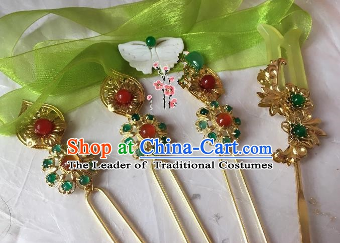 Traditional Chinese Ancient Princess Hair Accessories Golden Hairpins Complete Set for Women