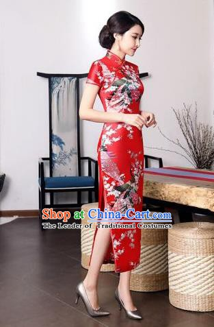 Chinese Traditional Printing Peacock Mandarin Qipao Dress National Costume Tang Suit Red Cheongsam for Women
