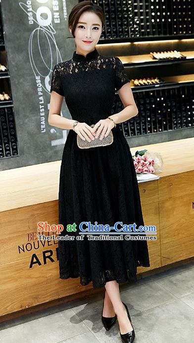 Chinese Traditional Black Lace Qipao Dress National Costume Tang Suit Mandarin Cheongsam for Women
