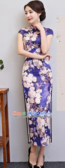 Chinese Traditional Tang Suit Qipao Dress National Costume Printing Pear Flowers Purple Mandarin Cheongsam for Women