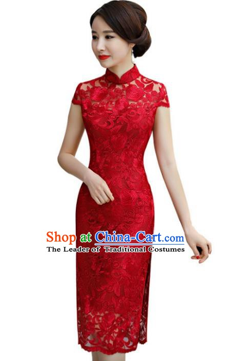 Chinese Traditional Tang Suit Red Lace Qipao Dress National Costume Mandarin Cheongsam for Women