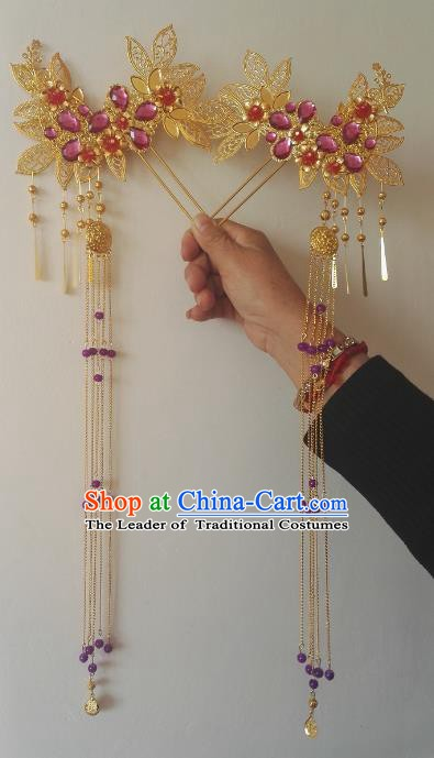 Traditional Chinese Ancient Princess Hair Accessories Hairpins Purple Crystal Tassel Step Shake for Women