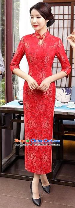 Chinese Traditional Tang Suit Qipao Dress National Costume Retro Red Mandarin Cheongsam for Women