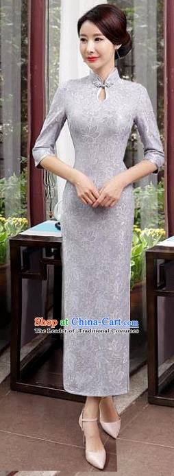 Chinese Traditional Tang Suit Qipao Dress National Costume Retro Grey Lace Mandarin Cheongsam for Women