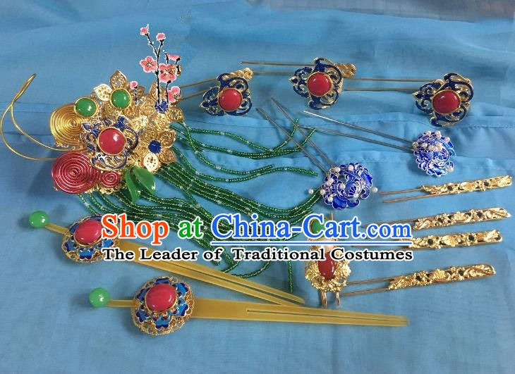 Traditional Chinese Ancient Palace Lady Hair Accessories Blueing Hairpins Phoenix Coronet Complete Set for Women