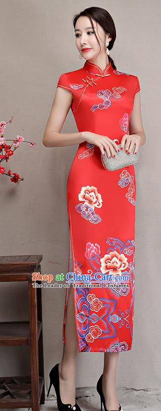 Chinese Traditional Tang Suit Qipao Dress National Costume Retro Wedding Red Mandarin Cheongsam for Women