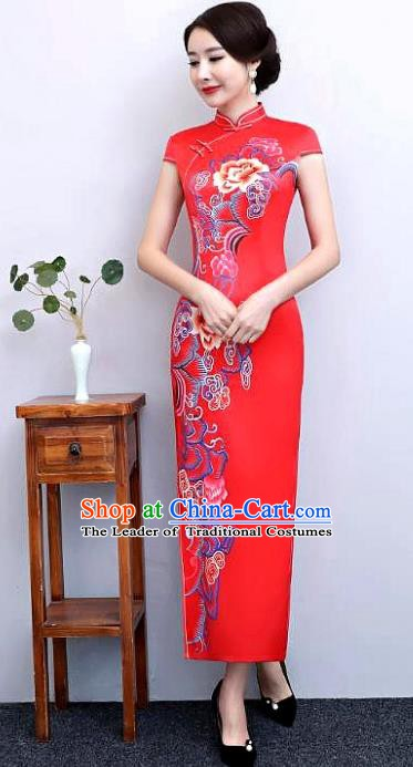 Chinese Traditional Tang Suit Printing Silk Qipao Dress National Costume Retro Red Mandarin Cheongsam for Women