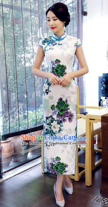 Chinese Traditional Tang Suit Printing Peony Qipao Dress National Costume White Mandarin Cheongsam for Women