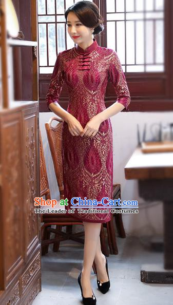Chinese Traditional Tang Suit Qipao Dress National Costume Amaranth Mandarin Cheongsam for Women
