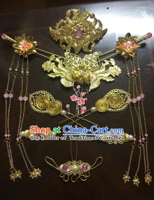 Traditional Chinese Ancient Wedding Hair Accessories Phoenix Coronet Step Shake Hairpins Complete Set for Women
