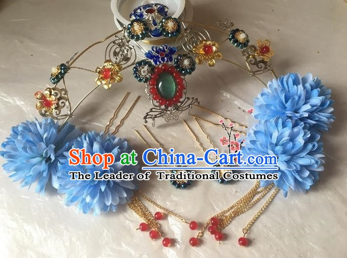 Traditional Chinese Ancient Wedding Hair Accessories Blueing Phoenix Coronet Hairpins Complete Set for Women