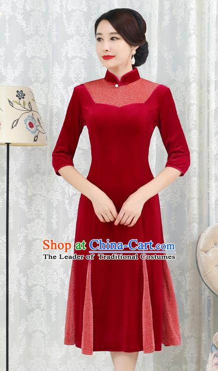 Chinese Traditional Tang Suit Red Velvet Qipao Dress National Costume Top Grade Mandarin Cheongsam for Women