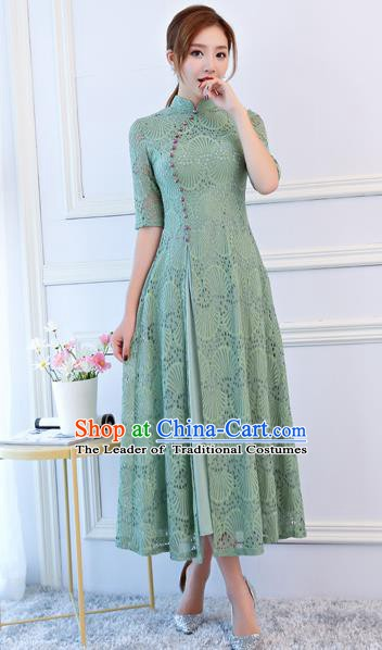Top Grade Chinese Traditional Green Lace Qipao Dress National Costume Tang Suit Mandarin Cheongsam for Women
