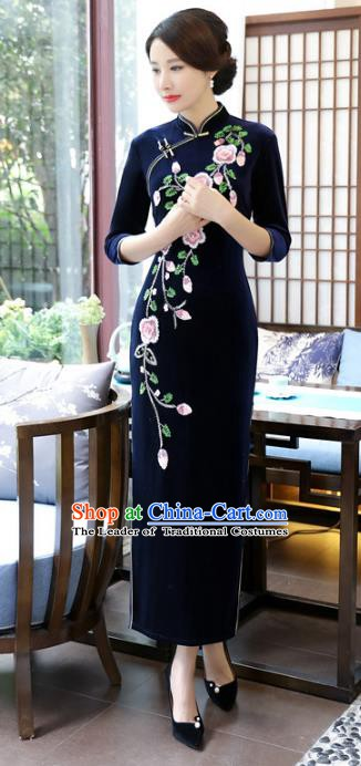 Top Grade Chinese Royalblue Velvet Qipao Dress National Costume Traditional Mandarin Cheongsam for Women